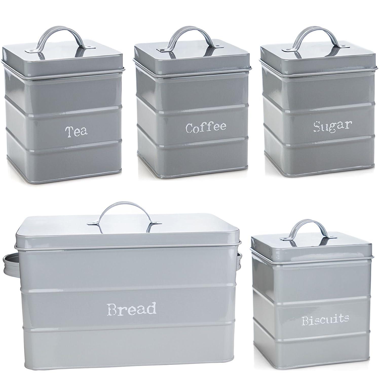 Harbour Housewares Kitchen Storage Set in Vintage Metal - Tea Coffee Sugar Biscuits Bread - Grey