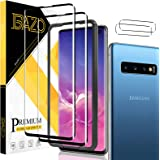 [2+2 Pack] BAZO Tempered Glass Samsung Galaxy S10 (6.1 inch) Screen Protector and Camera Lens Protector for 3D Full Coverage