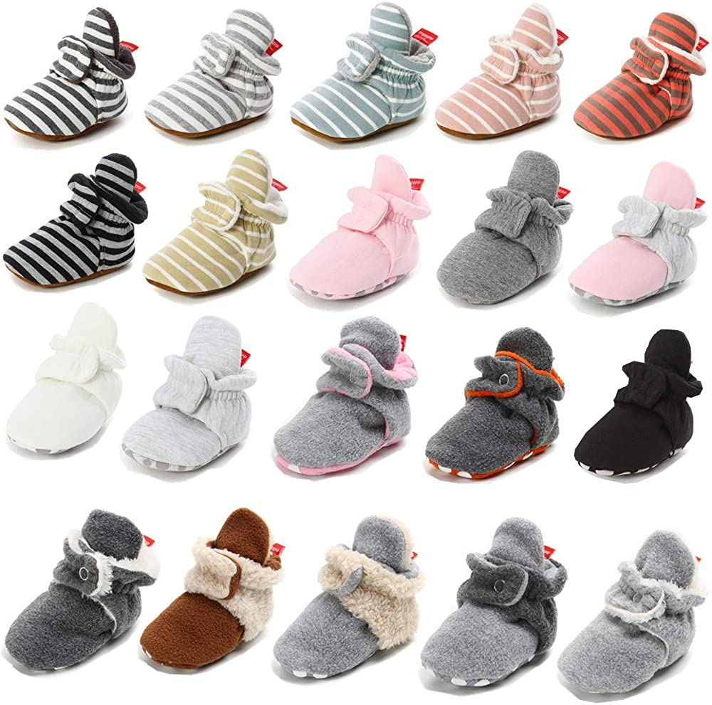 Mybbay Newborn Baby Boy Girl Fleece Cozy Booties Non Skid Infant Slippers Winter Warm Socks Crib Shoes