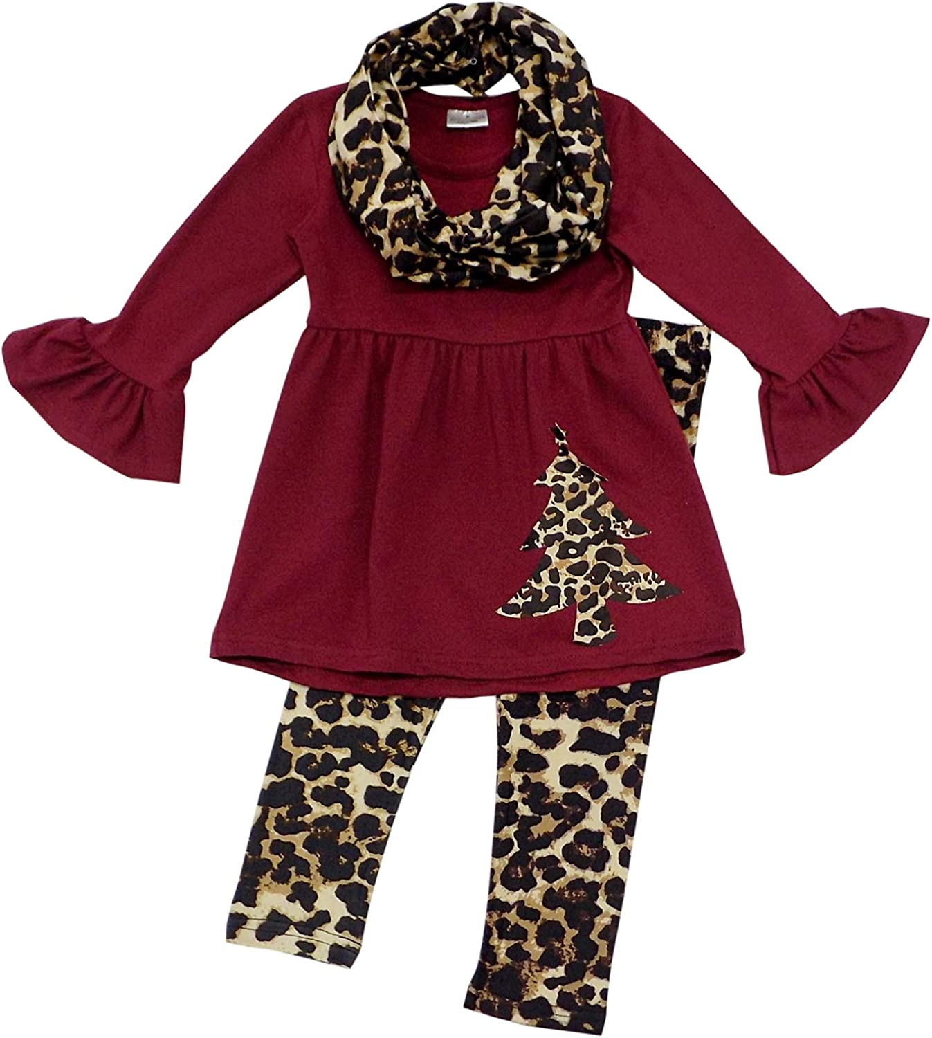 Boutique Infinity Scarf Set So Sydney Toddler Girls 3 Pc Winter Christmas Holiday Ruffle Tunic Outfit