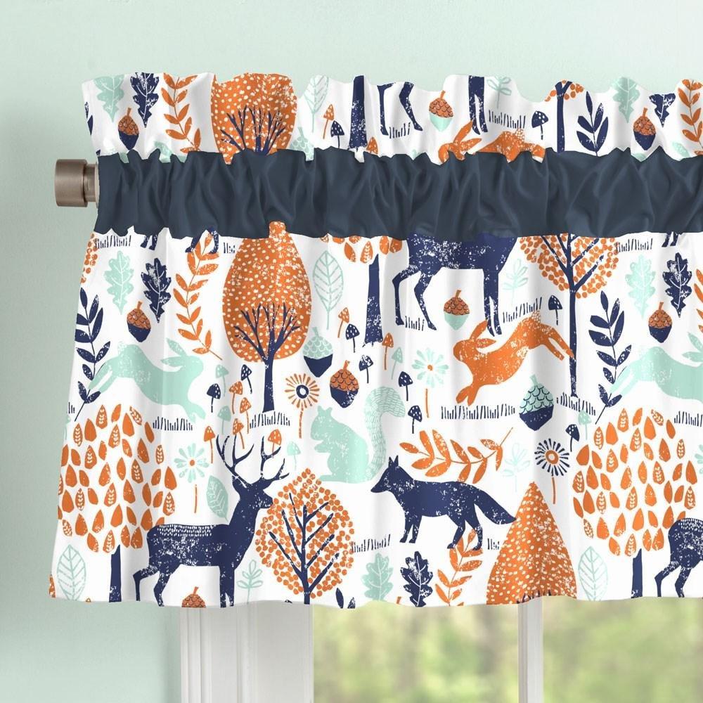 Carousel Designs Navy and Orange Woodland Window Valance Rod Pocket by Carousel Designs