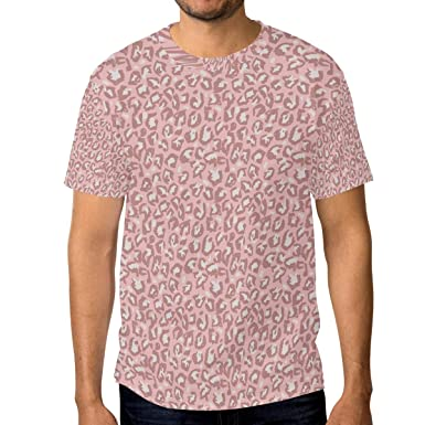 d2eeb26ec Image Unavailable. Image not available for. Color: Horatiood Huberyyd Light  Pink Leopard Print Men's T Shirts Graphic Funny Body Print Short ...