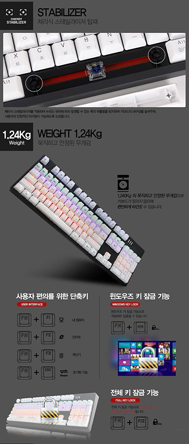 Easy Swap Switch English//Korean Type ABKO K8700 Crystal Keycap Optical Switch Rainbow LED Mechanical Keyboard Black White Keycap Kailh Speed Optical NKEY Rollover Full Water Resistance