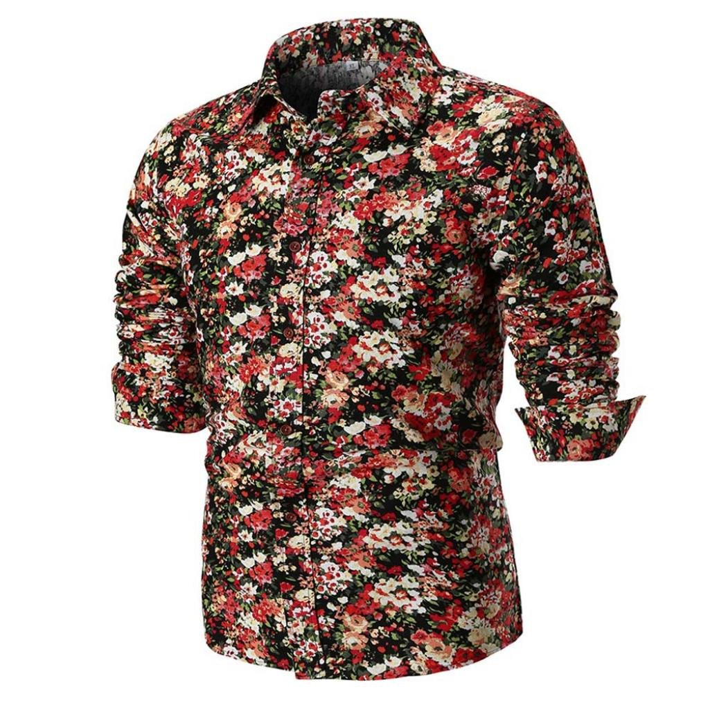 vermers Clearance Fashion Long Sleeve Shirts for Men - Personality Mens Casual Slim Printed Button Down Shirt Top Blouse(3XL, Multicolor2)