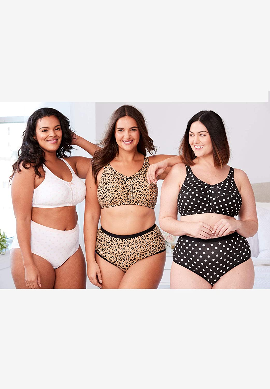 Comfort Choice Womens Plus Size 3-Pack Cotton Wireless Bra