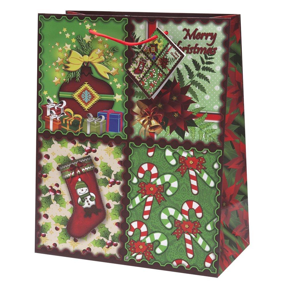 Amazon.com: 12 Christmas Gift Bags Medium Bulk Assortment with ...