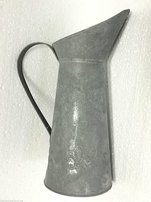 Blechkanne Dekokanne Gießkanne Shabby Krug Vase Blumenvase I0-13-LG Zink silber