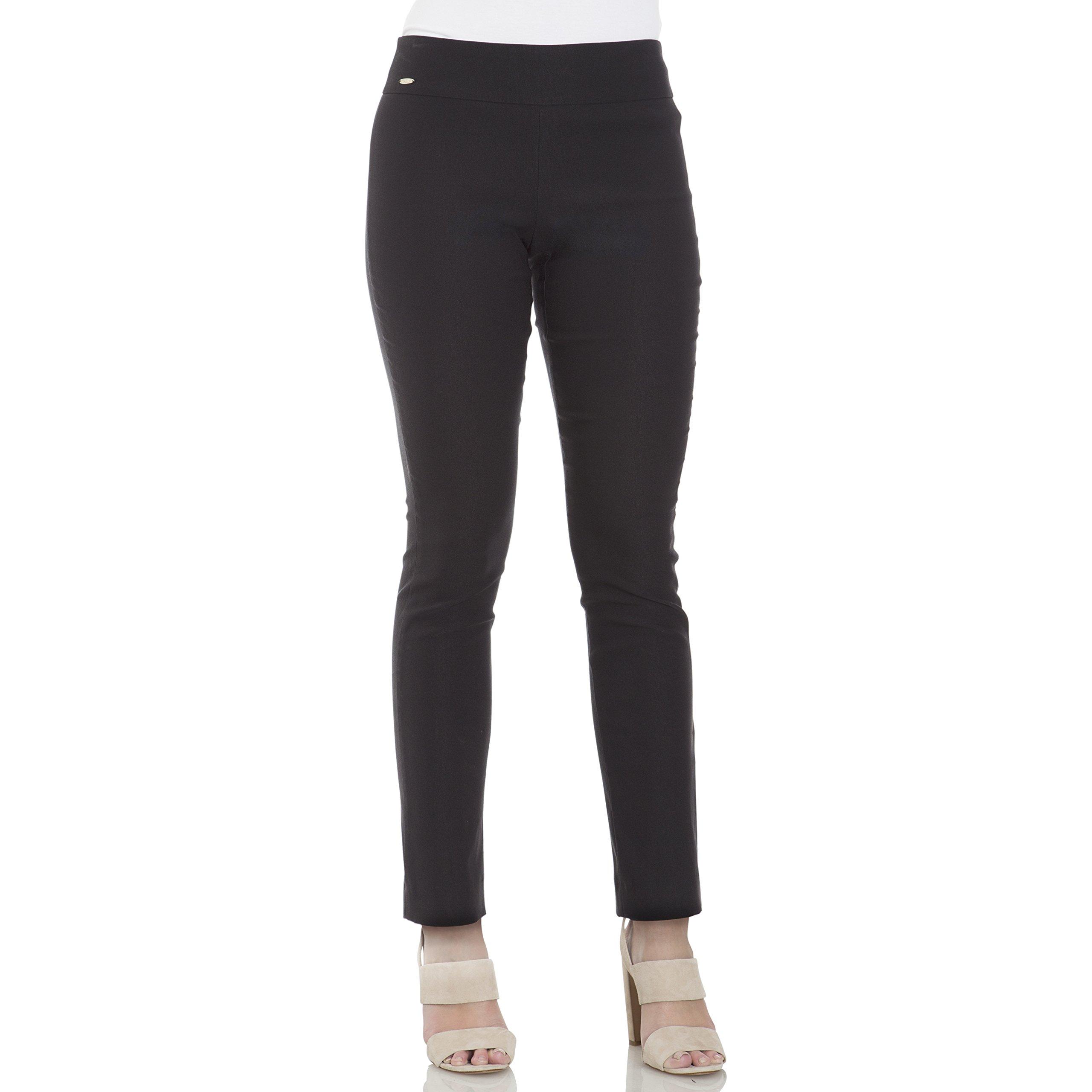 IZOD Women's Slim Fit Pull on Crop Pant, Caviar, 10