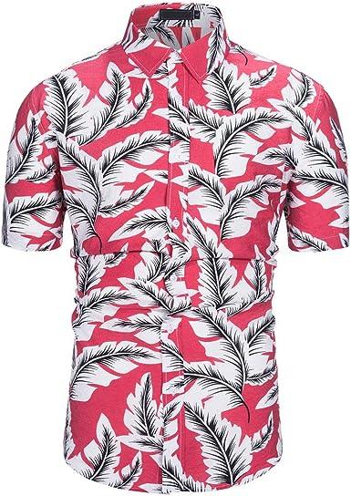 Camisa Tropical Hawaiana Casual de Manga Corta con Botones ...