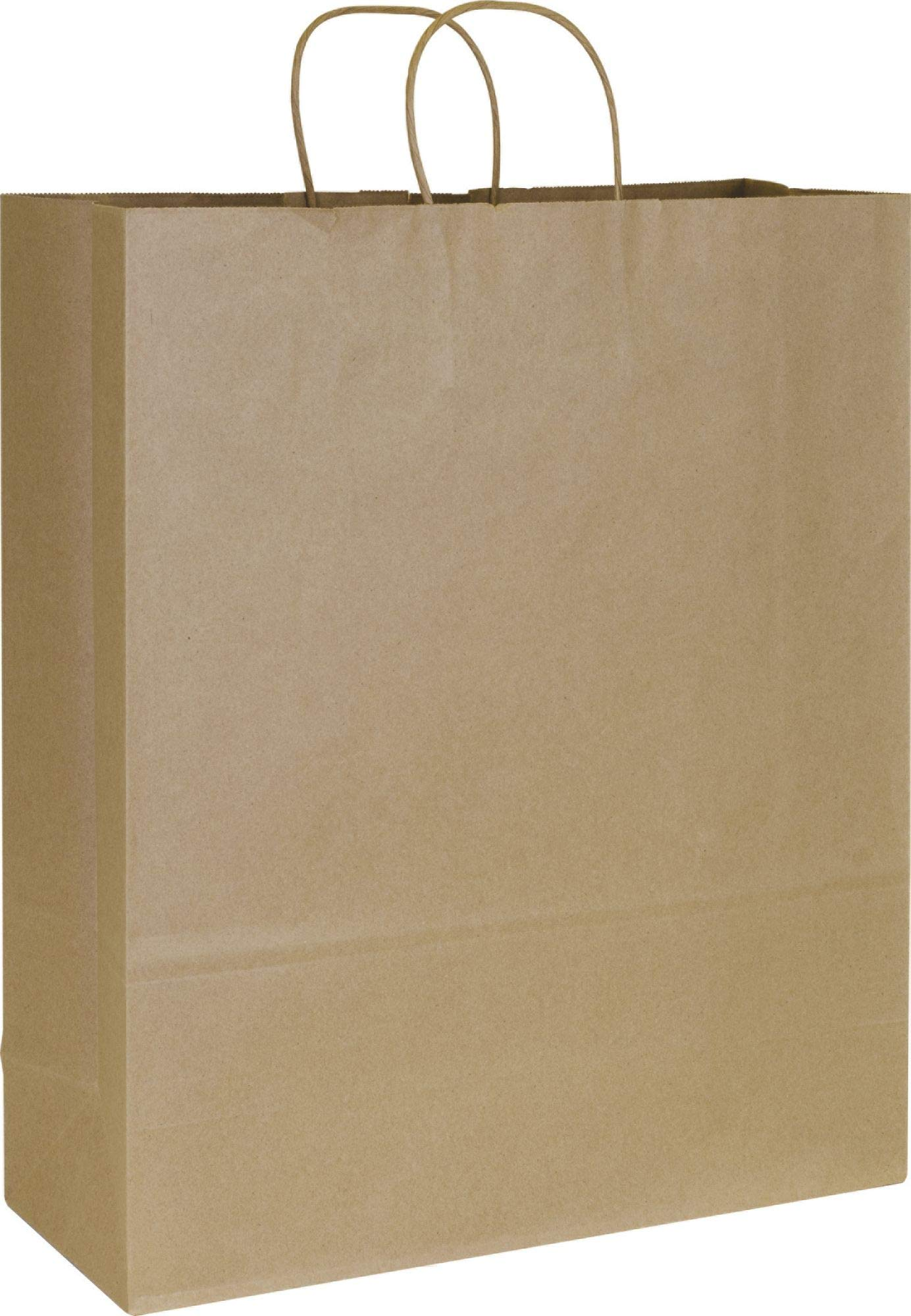 Solid Color Pattern Shopping Bags - Kraft Paper Shoppers Queen, 16 x 6 x 19'' (200 Bags) - BOWS-41-8 by Miller Supply Inc (Image #1)