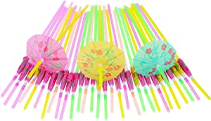 Blulu 50 Pieces Umbrella Disposable Bendable Drinking Straws for Luau Parties, Bars, Restaurants