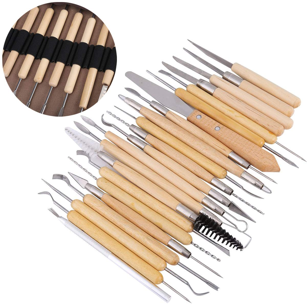 SUNOR 31 Pieces Sculpture Carving Tools Set,22 Pieces Wooden Pottery Sculpting Tools,5 Pieces Ceramic Clay Indentation Tool,4 Pieces Double-ended Metal Ball Tools with Roll Up Pouch Case Clay Sculpture Carving