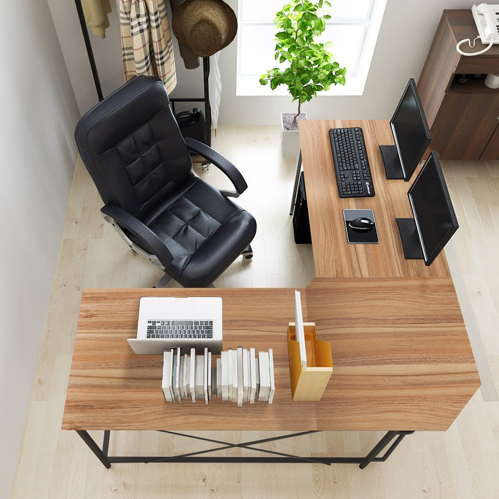 DlandHome L-Shaped Computer Desk 59 Inches+59 Inches, Composite Wood & Metal, Home Office PC Laptop Study Workstation Corner Table with CPU Stand, ZJ02-OW Oak & Black Legs, 1 Pack