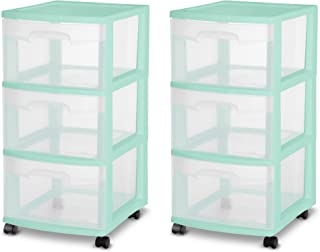 product image for Sterilite 28308A01K 3 Drawer Rolling Caster Wheel Home Organizer Storage Cart with Durable Plastic Frame, Clear Drawers, Green (2 Pack)