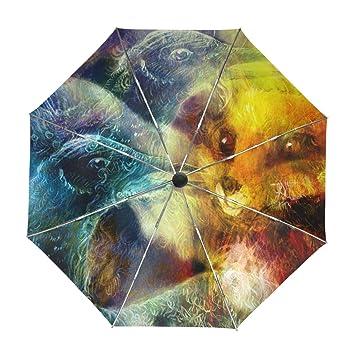 ALAZA Viajes Abstracto Ave Fénix Fox Paraguas de Apertura automática Cerca de Protección UV a Prueba