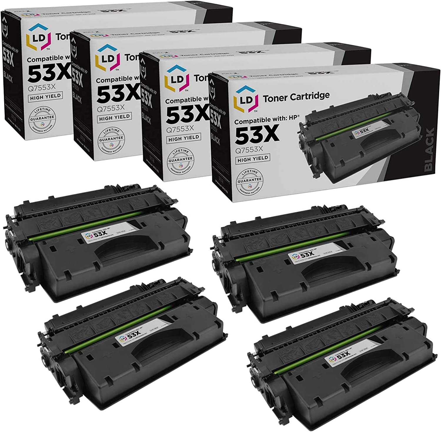 LD Compatible Toner Cartridge Replacement for HP 53X Q7553X High Yield (Black, 4-Pack)