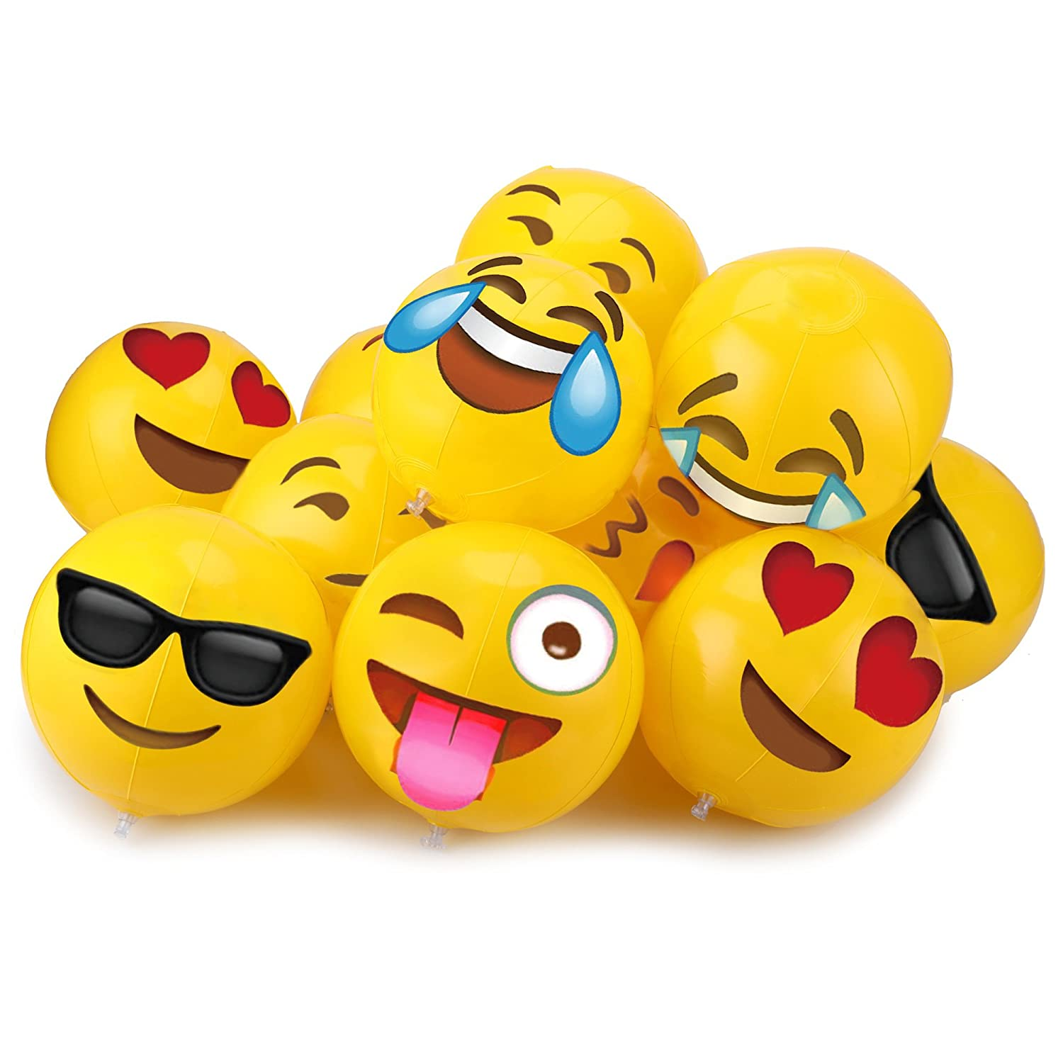 Temporary Tattoos 12pack 40pcs Konsait 12inch Emoji Party Pack Inflatable Beach Balls for Boys Girls Kids Funny Emoji Body Stickers for Beach Pool Party Toys Emoji Themed Party Favors Supplies