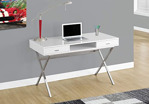 Monarch Specialties Laptop Table with Drawers and Open Shelf Computer, Writing Desk, Metal Sturdy Legs, 48 L, Glossy White