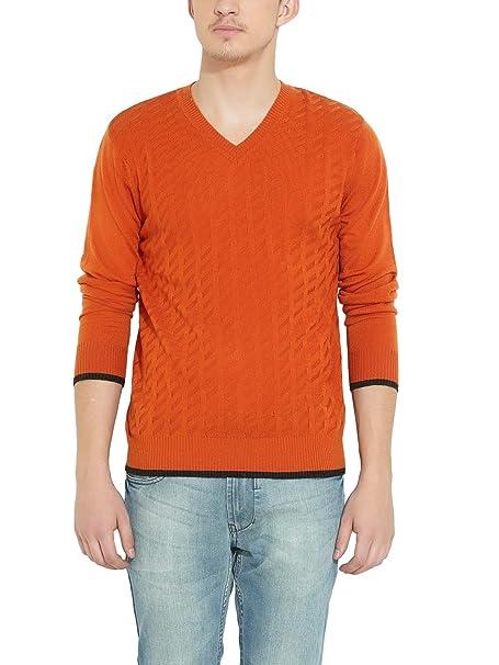 9ae4a8bd6523 NUMERO UNO Men Acrylic Orange SWEATER  Amazon.in  Clothing   Accessories