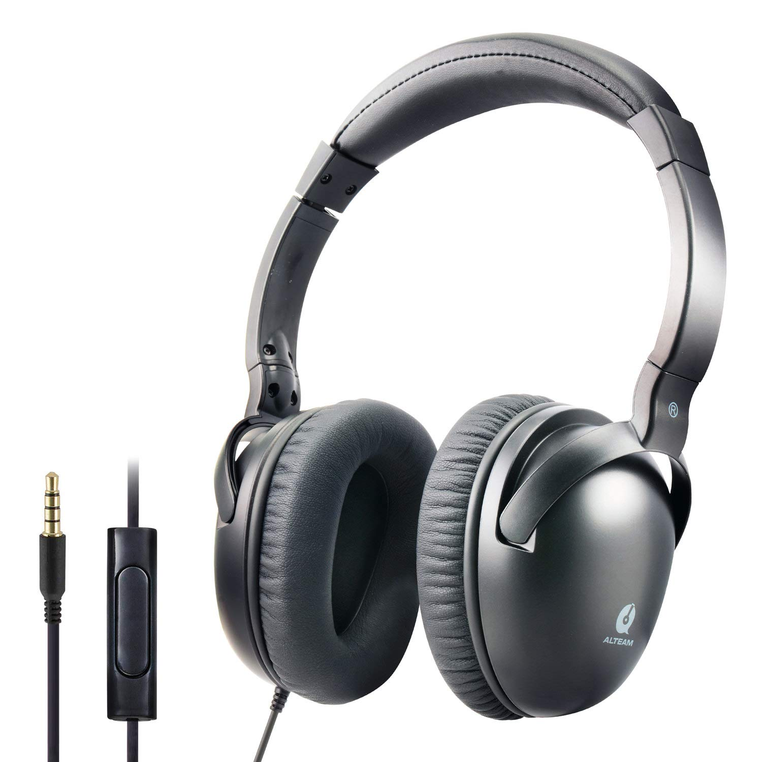 Auriculares ALTEAM Con Cable Over-Ear Confortable Headset con Mic para Music y Calls 3.5mm Plug Flexible Stainless Steel
