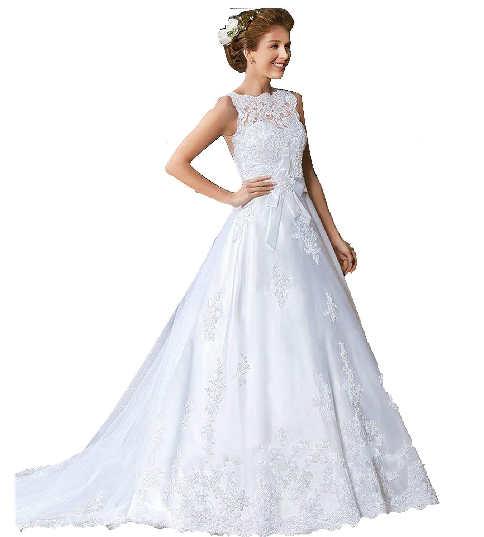 Mingxuerong Rückenfrei Spitzen Lang Hochzeitskleid Empire Stil Aline ...