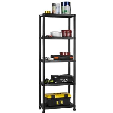 VonHaus 5 Tier Garage Shelving Unit with Wall Brackets - Black Plastic Interlocking Utility Storage Shelves and Rack - Unit Size: 68 x 24 x 12 inches