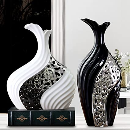 Amazon modern minimalist vase living room decorative ornaments modern minimalist vase living room decorative ornaments creative flowers black and white silver vase mightylinksfo