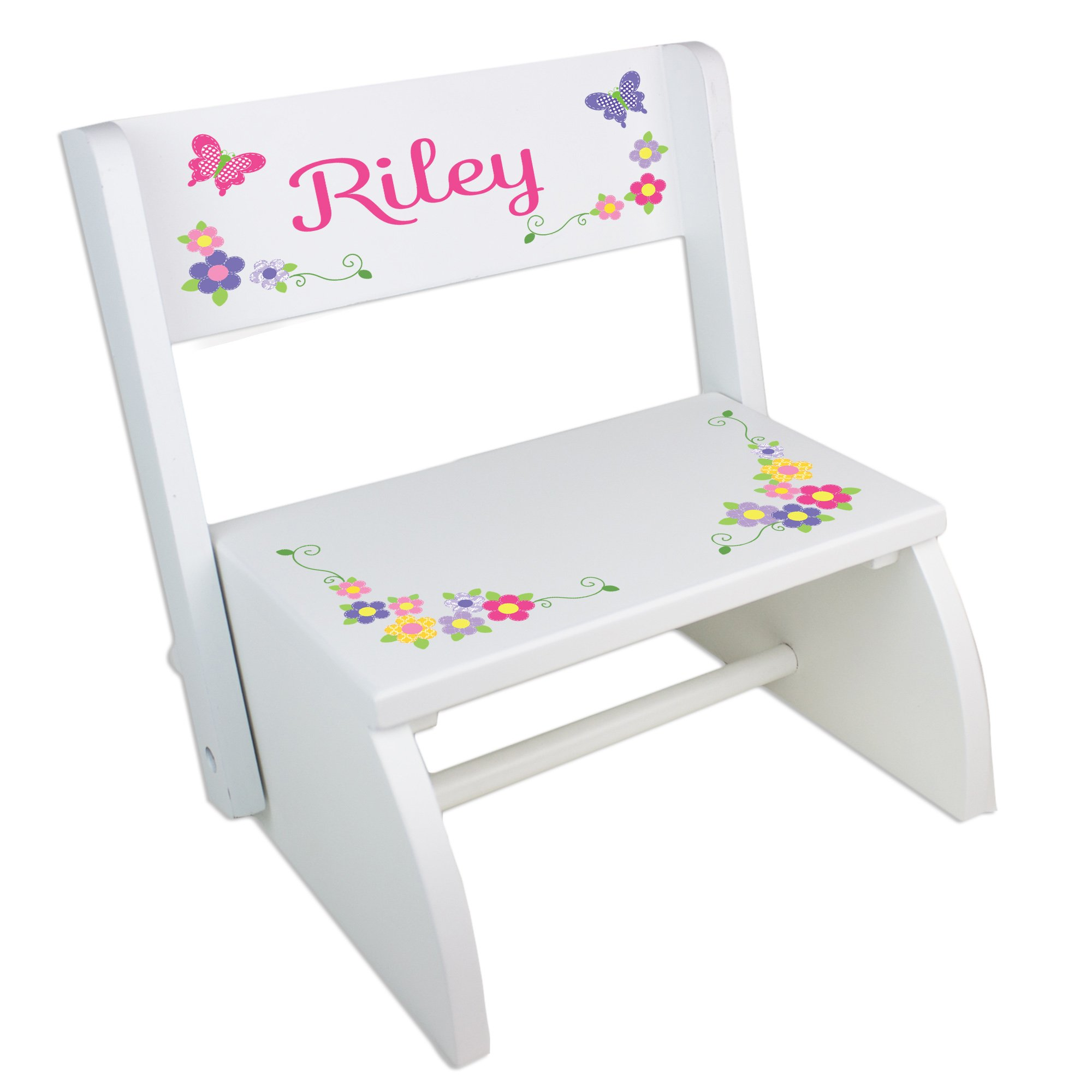 Personalized Butterfly Garland Bright Folding Step Stool