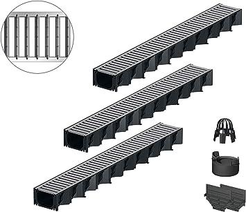 1m ACO Selfplast Entw/ässerungsrinne Stegrost Stahl verzinkt Ablauf vertikal Bodenrinne Regenablaufrinne