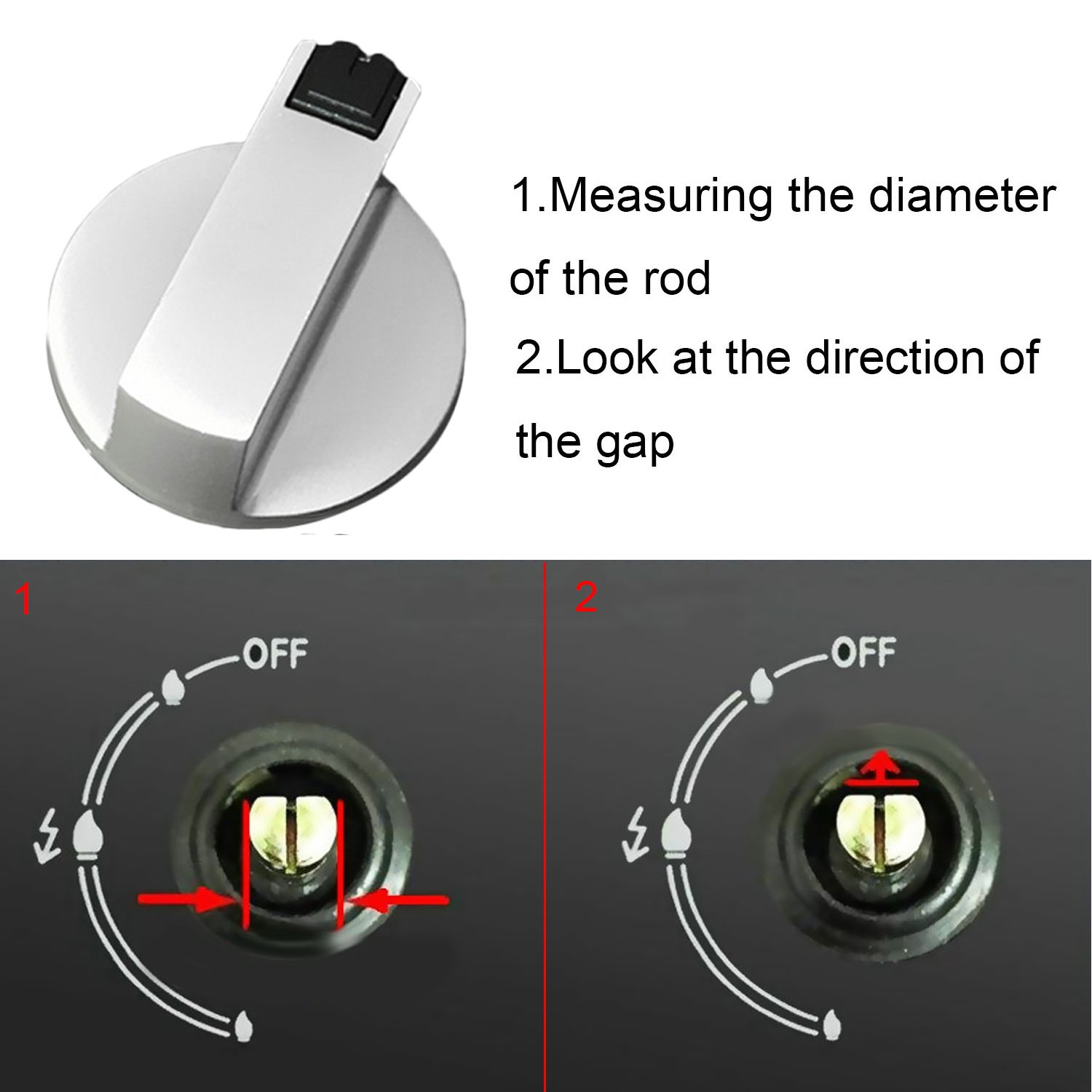 Gas Stove Knob 2pcs Metal 6mm Universal Silver Stove Switch Control Knobs Adaptors Oven Rotary Switch Cooking Surface Control Locks