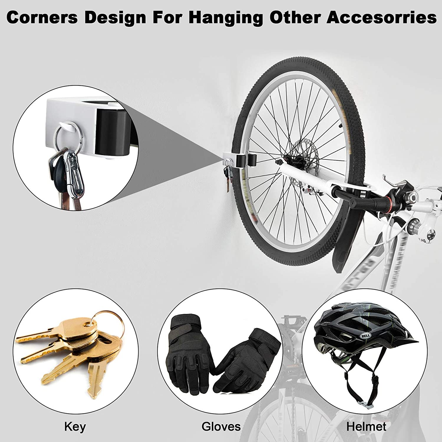 Linkstyle 2-Pack Compact Bike Clip Indoor Outdoor Bicycle Rack Storage System Bike Storage Parking Buckle Holder Wall Mount Hook Bicycle Parking for Home /& Garage