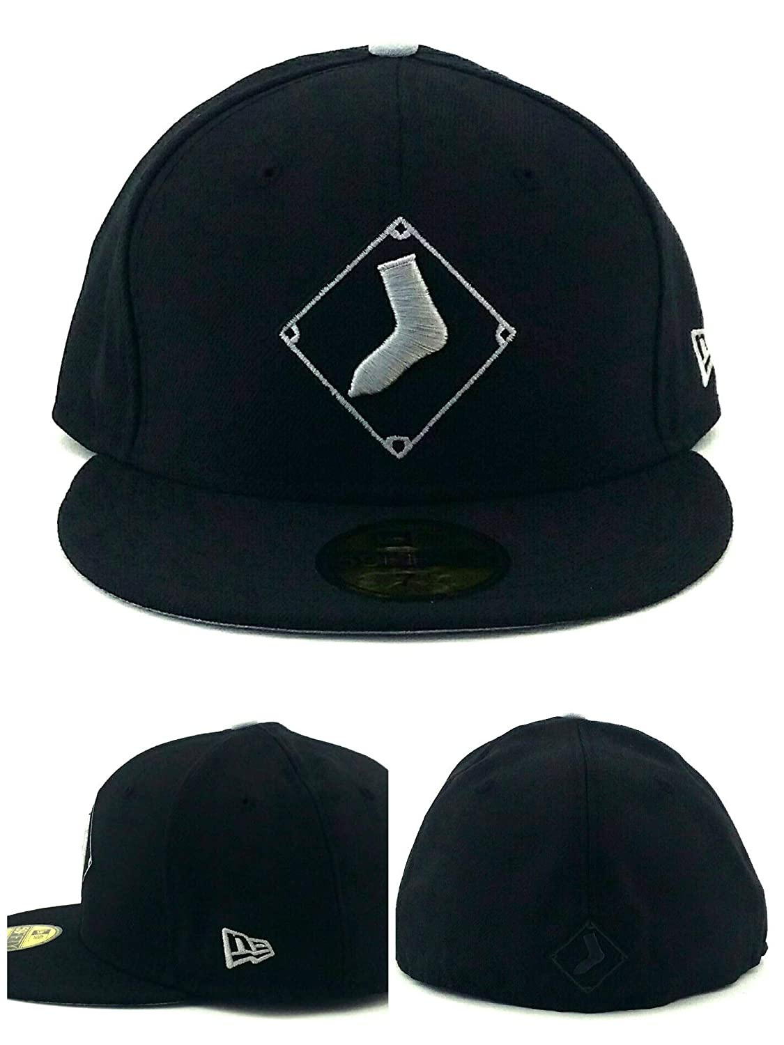 Amazon.com   New Era Chicago White Sox 59Fifty Black Gray Sock Diamond  Fitted Hat Cap 7 3 8   Sports   Outdoors af852c39f91