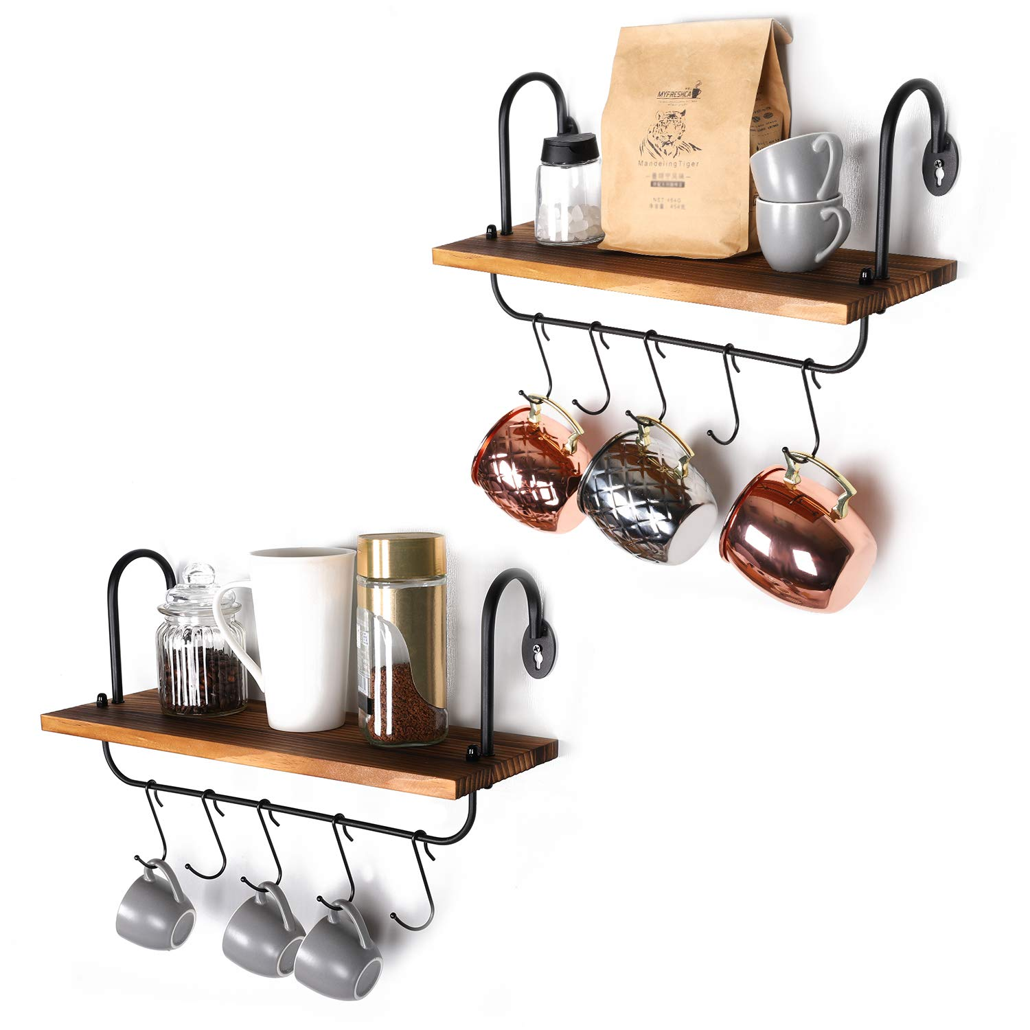 Olakee Wall Floating Shelves for Kitchen Bathroom Coffee Nook with 10 Adjustable Hooks for Mugs Cooking Utensils or Towel Rustic Storage Shelves Set of 2