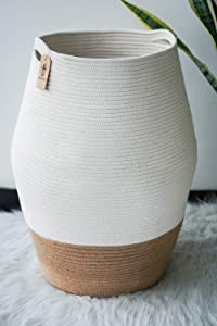 Goodpick Large Laundry Hamper | Tall Wicker Hamper Laundry Basket, Soft Cotton Rope Woven Hamper, Farmhouse Design Graceful Curve Basket 25.6 Inches Height