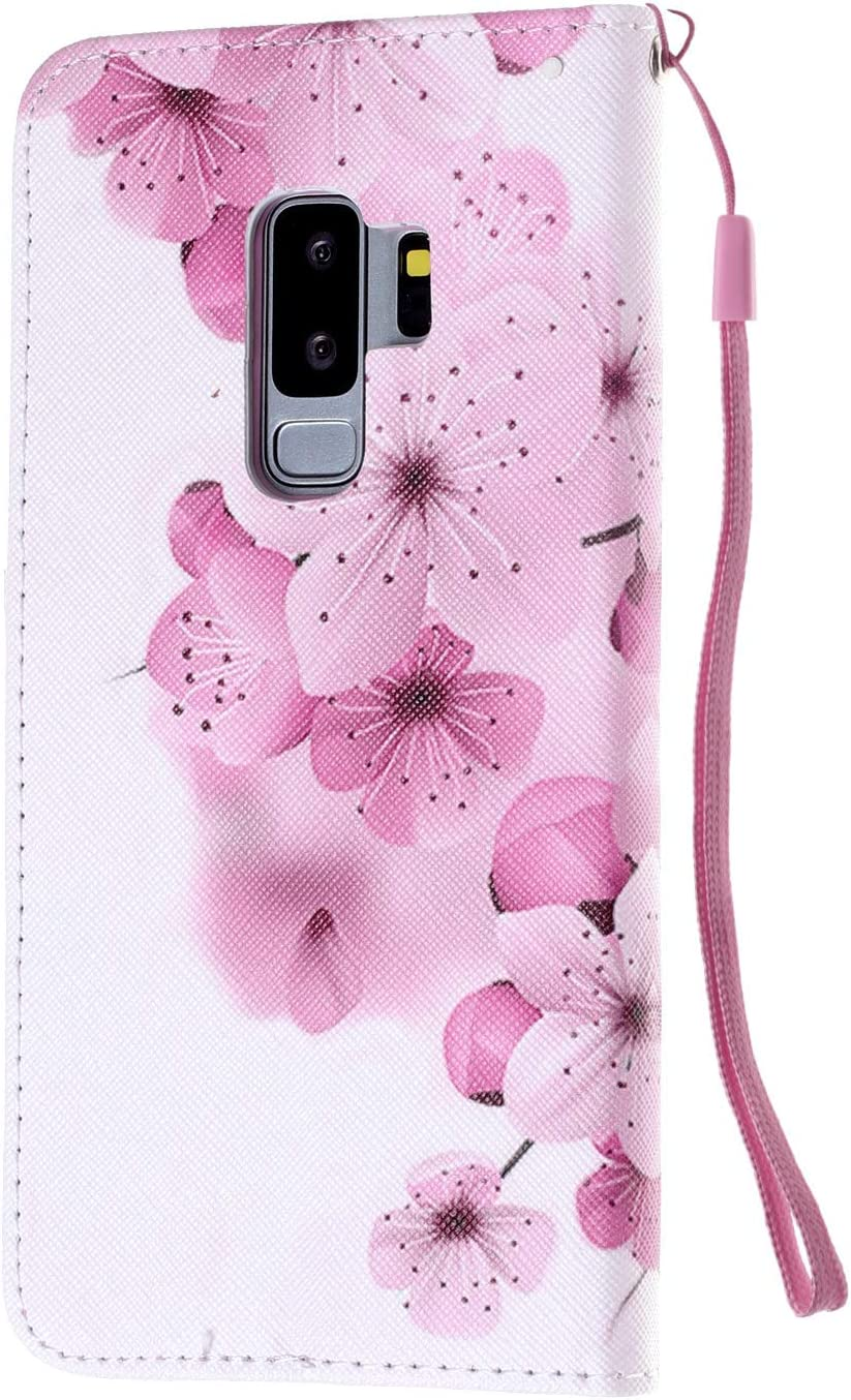 Herbests Compatible with Samsung Galaxy S9 Plus Wallet Case Retro Art Paint Shockproof PU Leather Flip Protective Cover Slim Stand Folio Book Case Card Holders Magnet Wrist Strap,Pink Flower