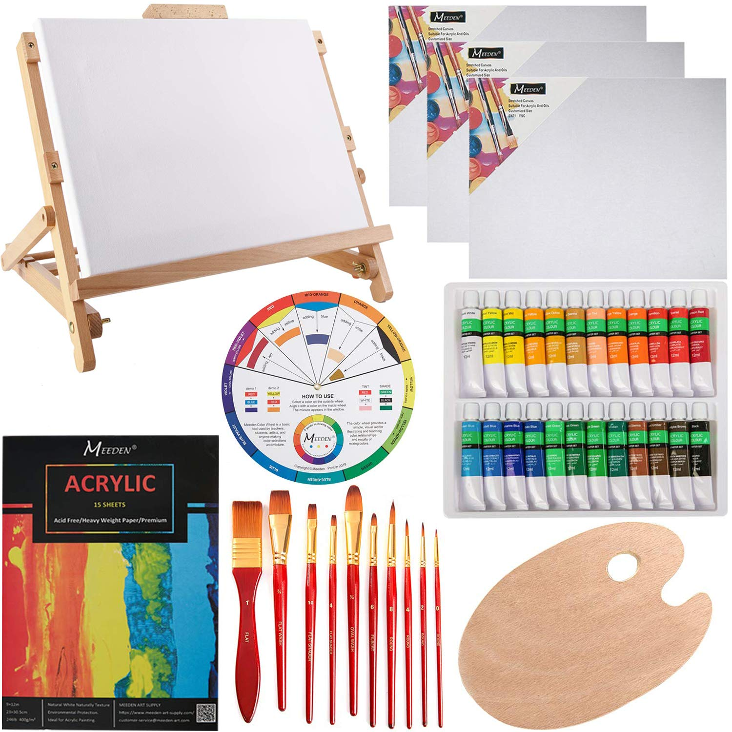 MEEDEN 42Pcs Acrylic Painting Set with Solid Beech Wood Table Easel, Paint Tubes, Stretched Canvas, Painting Brushes, Pad and Panels, Wood Palette, Color Mixing Wheel, Great Student Artist Starter Set by MEEDEN