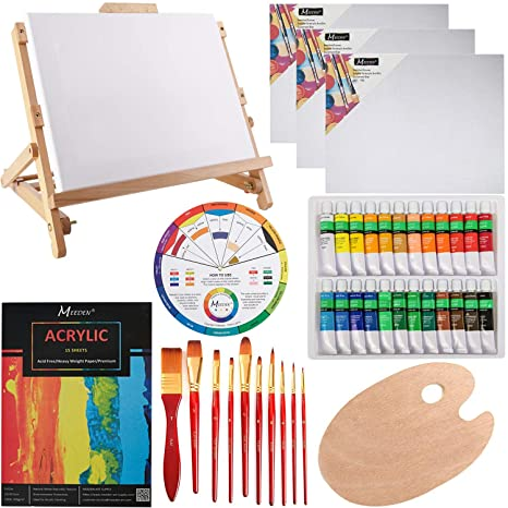 Meeden 42pcs Acrylic Painting Set With Solid Beech Wood Table Easel Paint Tubes Stretched Canvas Painting Brushes Pad And Panels Wood Palette