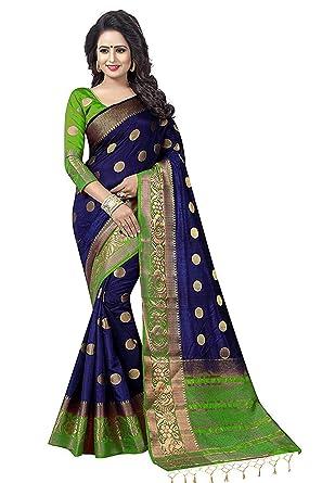 b7db5cd5b Nirja Creation Multi Color Traditional Fancy Cotton Party wear Silk Saree  (Green)