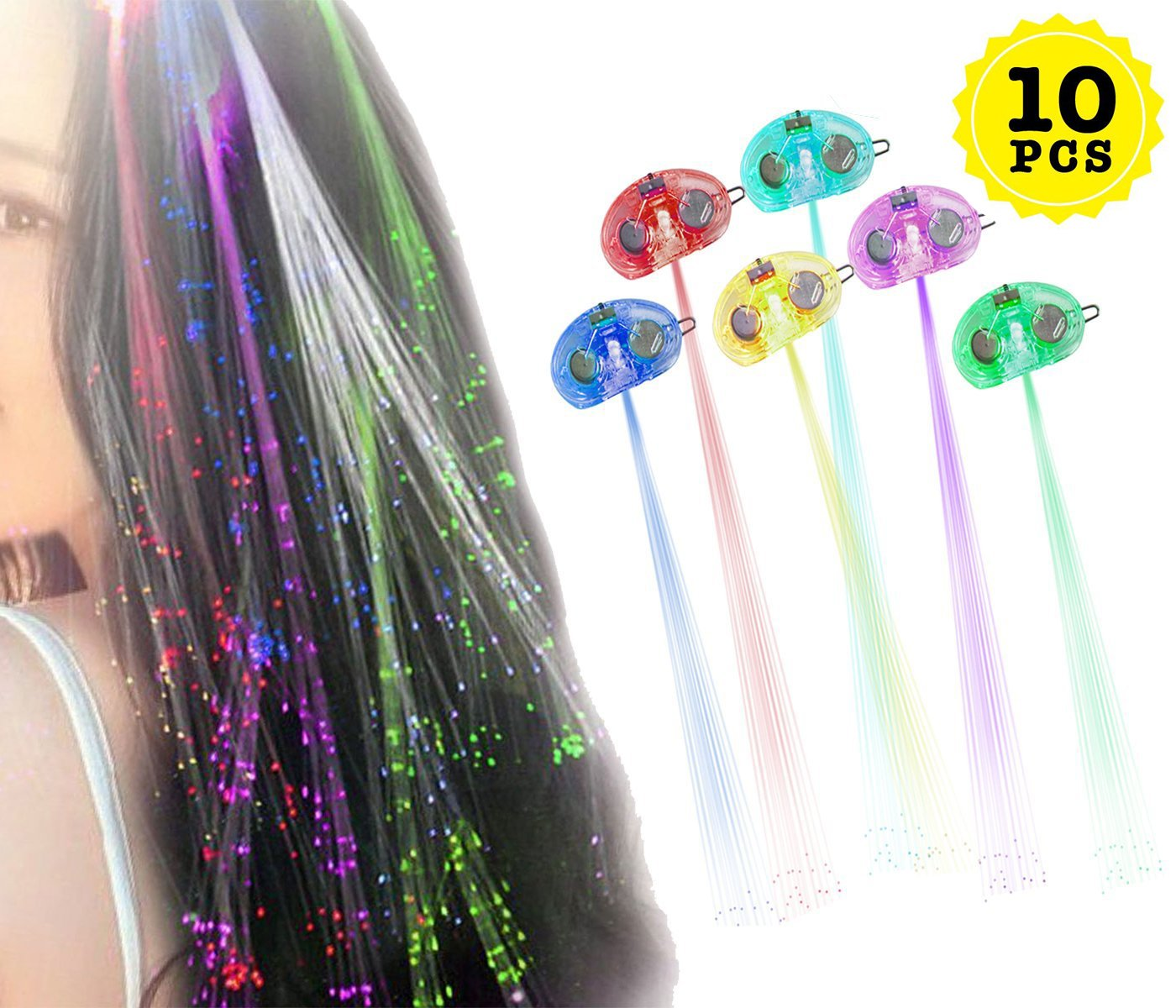 Zinnor Light Up Toys with Flashing Hair Fiber Optic Extension Barrettes.Multicolor Hair Barrette Clip Braid LED Hair Lights for Halloween Christmas Party,Bar Dancing Hairpin,Party Supplies(10 Pack)