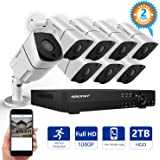 [FULL HD]1080P Wired Security Camera System,SMONET 8 Channel 2MP Outdoor/Indoor Surveillance System with 2TB HDD(AHD CCTV DVR Kits), 8pcs Weatherproof Security Cameras,Nigth Vision,P2P, Remote View
