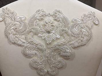 Applique in pizzo con paillettes a forma di fiore d per cucito