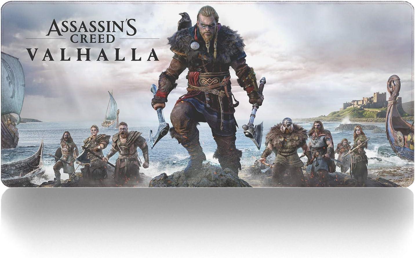 Alfombrilla de ratón Anime y Juegos,Assassin'S Creed Valhalla-A Alfombrilla para Ordenador portátil, Alfombrilla para Mesa, Antideslizante, de Goma, Universal 800X300X3mm XL