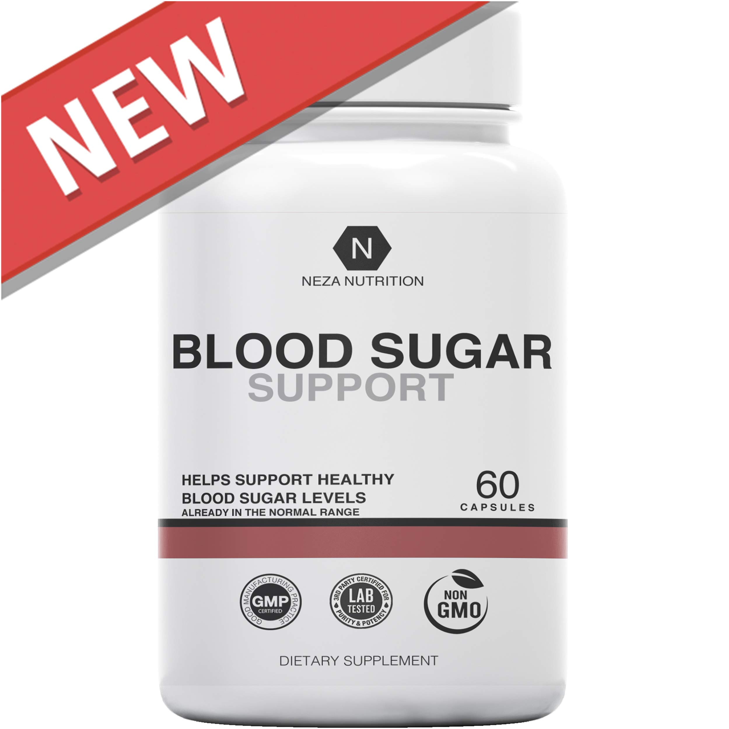 Blood Sugar Support Supplements: Natural Supplement Formula - Glucose Stabilizer with Cinnamon Cassia and Gymnema Sylvestre to Balance, Control, Support Levels by Neza Nutrition - 60 Capsules by Neza Nutrition