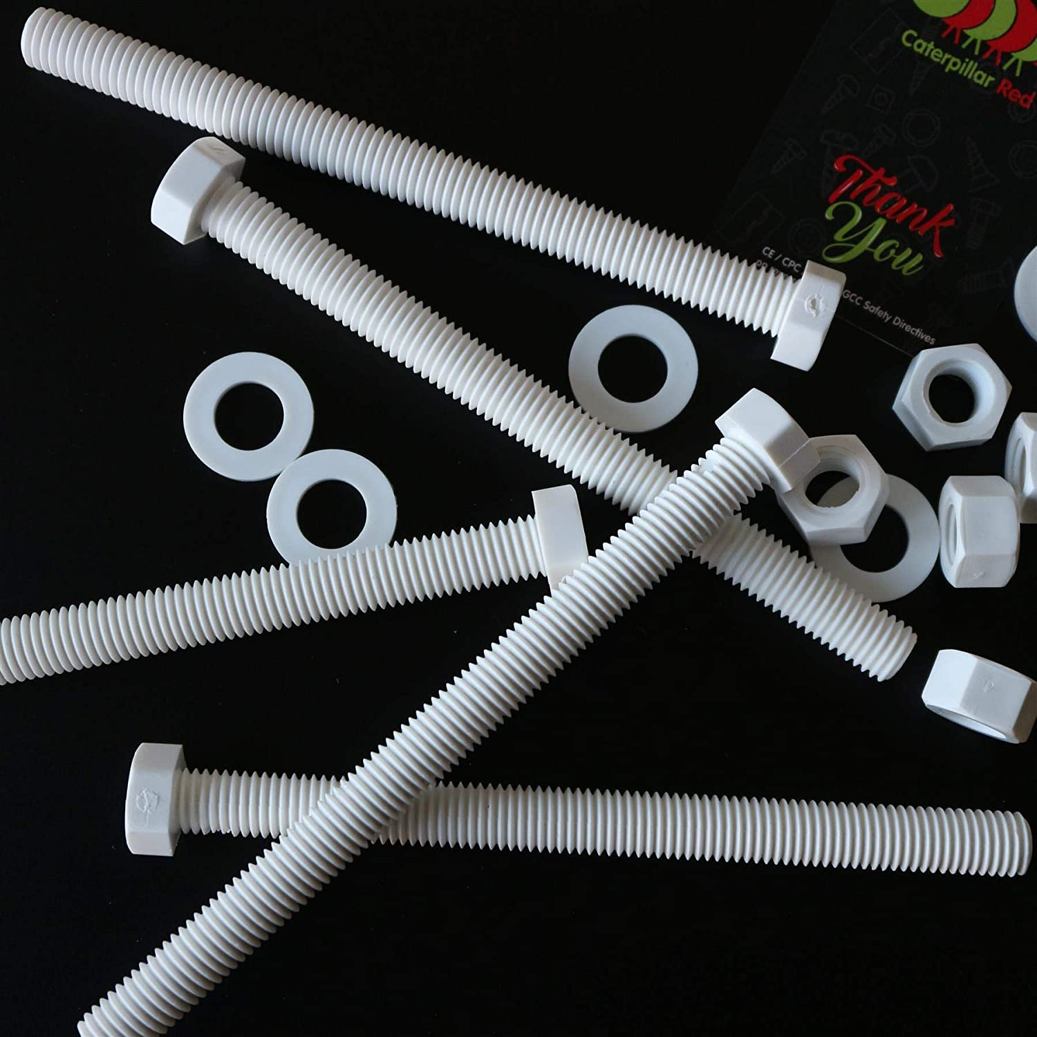 Acrylic Plastic Nuts and Bolts 5X White Hex Head Screws Polypropylene Washers Water Resistant M12 x 150mm Strong. Chemical Resistant Anti-Corrosion PP