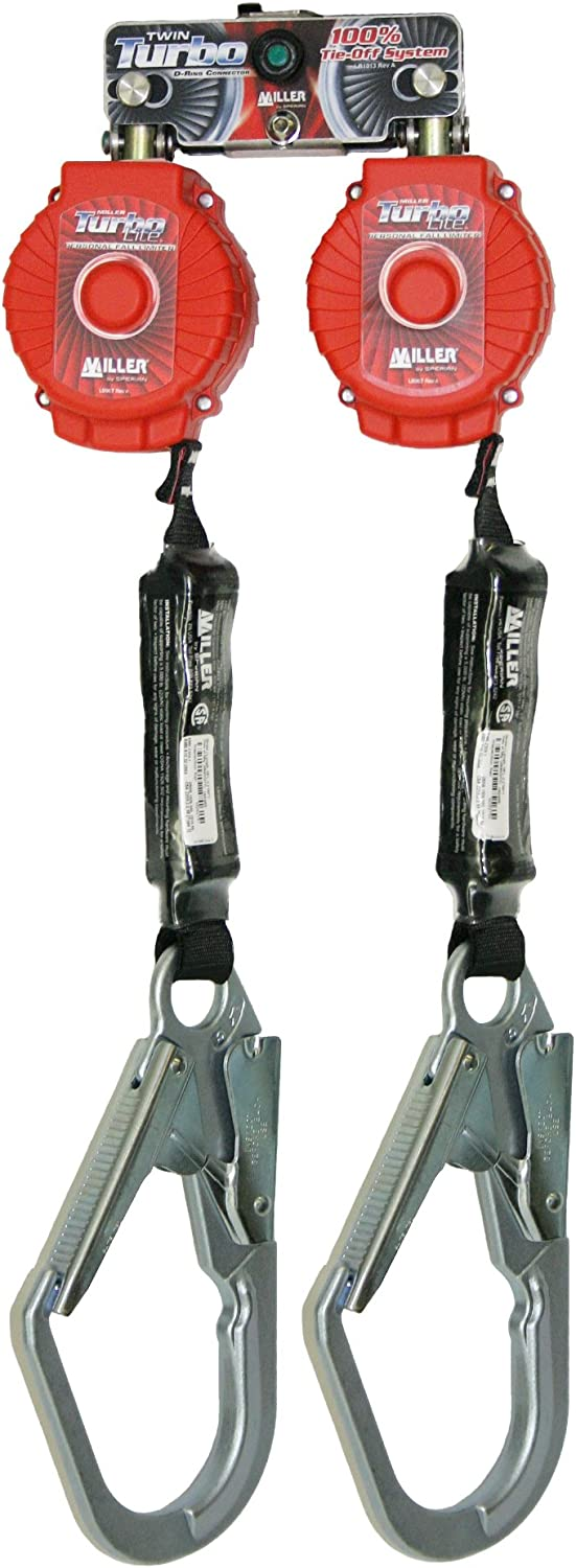 Miller Twin Turbo Fall Protection System with D-Ring Connector and 2 TurboLite Personal Fall Limiters (MFLB-4-Z7/6FT)