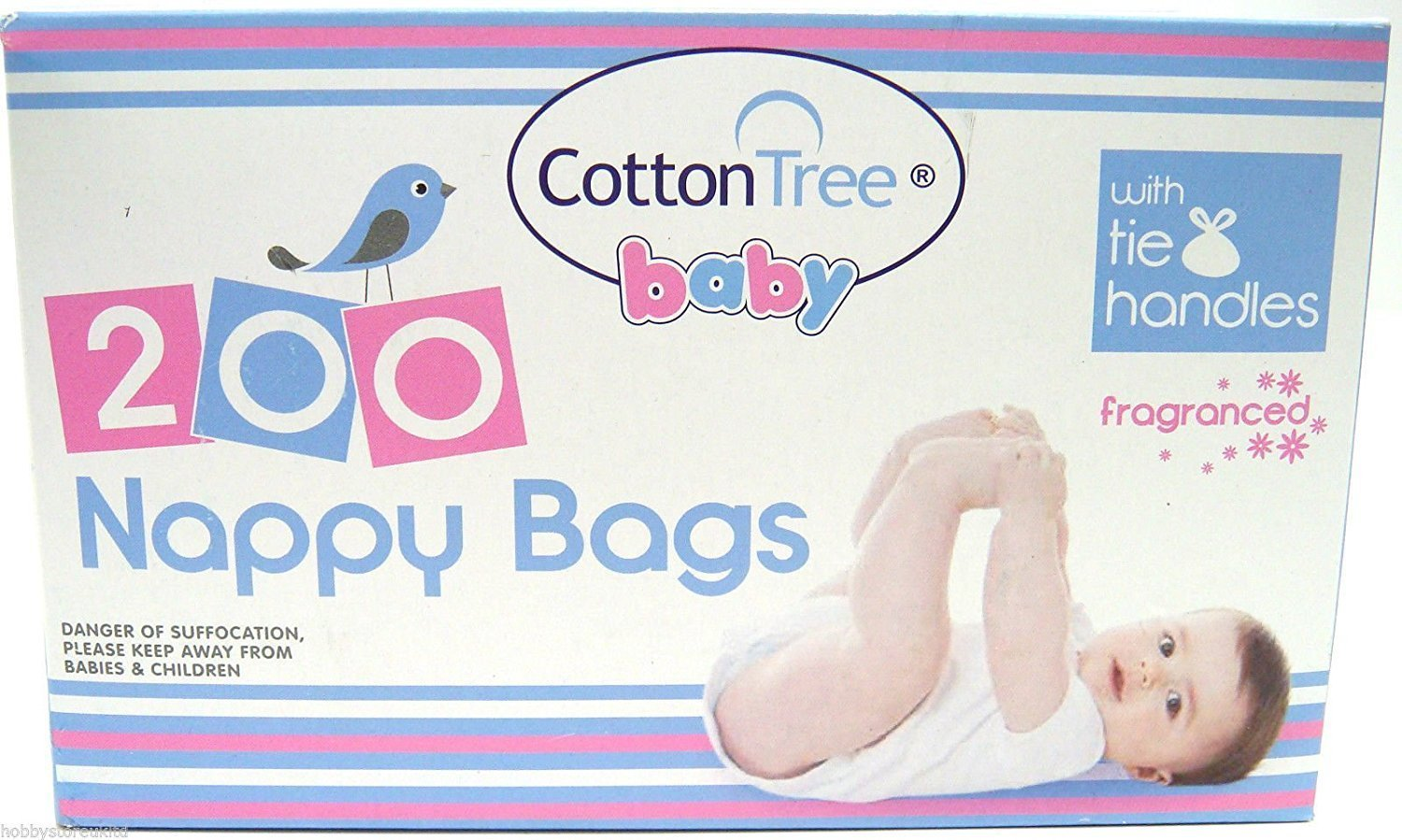 200 Fragranced Nappy Bags with Tie Handles Scented Diaper Bags Disposable Bags Cotton Tree