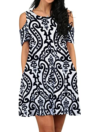 dfbc7159ab9e ZESICA Women s Summer Cold Shoulder Floral Printed Swing T-Shirt Loose Dress  with Pockets at Amazon Women s Clothing store