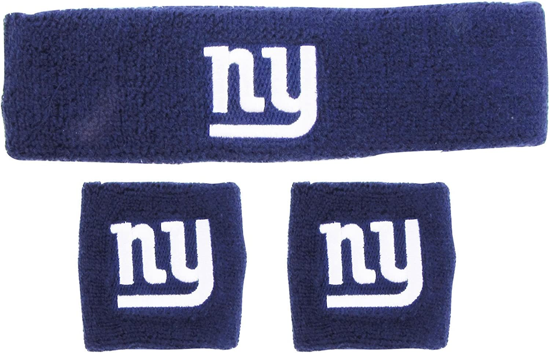One Size Blue NFL New York Giants Wristbands /& Headband Set