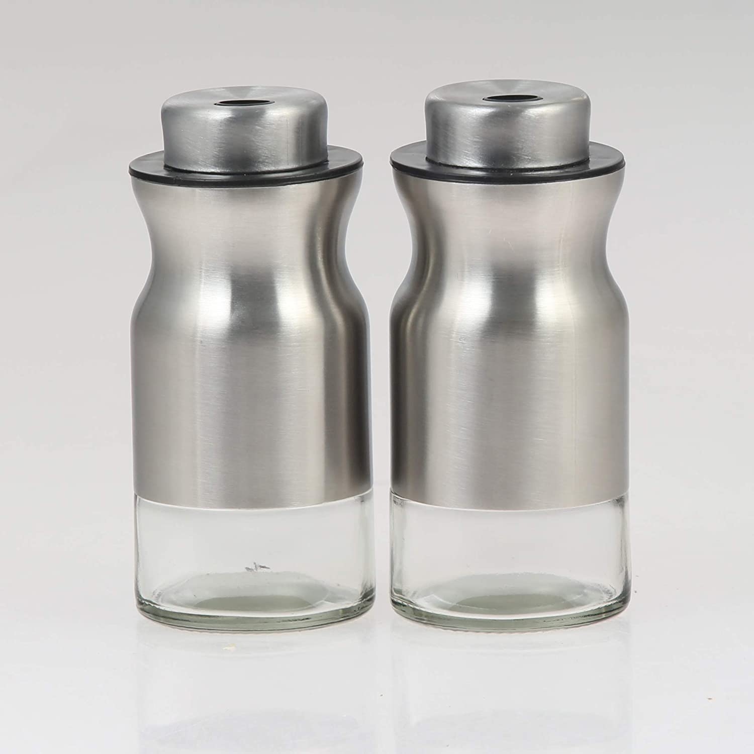 with adjustable pour holes dispenser lids Stainless Steel with Glass bottoms 2-Piece Set. Salt and Pepper Shaker