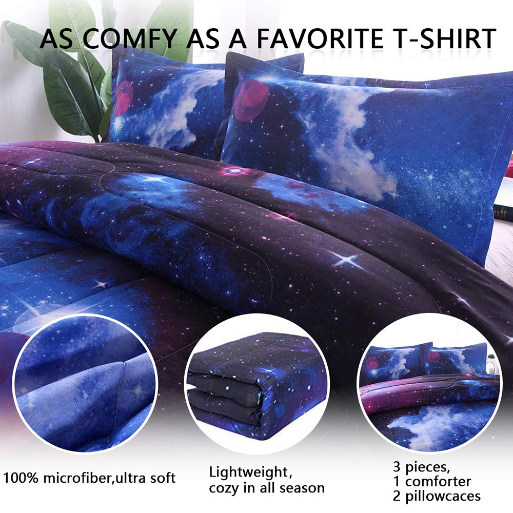 PomCo Galaxy Comforter Full (79x90 Inch), 3Pcs(1 Galaxy Comforter & 2 Pillowcases) 3D Space Outer Sky Microfiber Bedding Set, Universe Cloud Galaxy Comforter Set for Boy Girl Teen Kid by PomCo (Image #2)